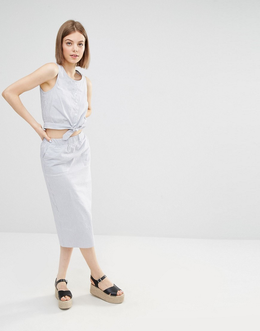 Stripe Column Midi Skirt Blue Stripe - length: calf length; pattern: plain; style: pencil; fit: body skimming; waist: mid/regular rise; predominant colour: pale blue; occasions: casual; fibres: cotton - stretch; texture group: cotton feel fabrics; pattern type: fabric; season: s/s 2016; wardrobe: highlight