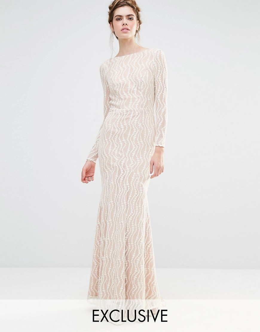 Bridal Long Sleeve Fishtail Maxi Dress Ivory/Nude - neckline: slash/boat neckline; style: maxi dress; predominant colour: ivory/cream; secondary colour: ivory/cream; occasions: evening; length: floor length; fit: body skimming; fibres: polyester/polyamide - 100%; sleeve length: long sleeve; sleeve style: standard; texture group: sheer fabrics/chiffon/organza etc.; pattern type: fabric; pattern: patterned/print; embellishment: beading; season: s/s 2016; wardrobe: event