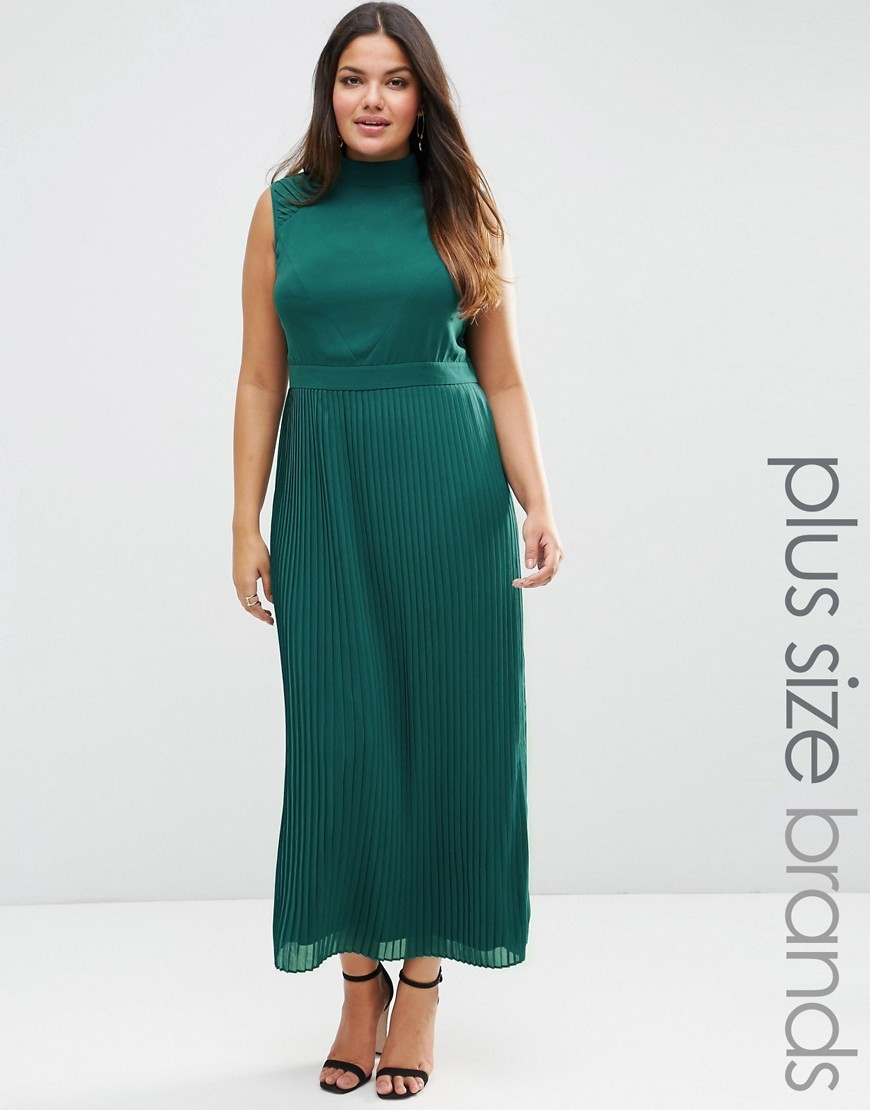 Plus Maxi Dress With Pleated Skirt Emerald - pattern: plain; sleeve style: sleeveless; style: maxi dress; length: ankle length; predominant colour: emerald green; fit: fitted at waist & bust; fibres: polyester/polyamide - 100%; occasions: occasion; neckline: crew; sleeve length: sleeveless; pattern type: fabric; texture group: other - light to midweight; season: s/s 2016; wardrobe: event
