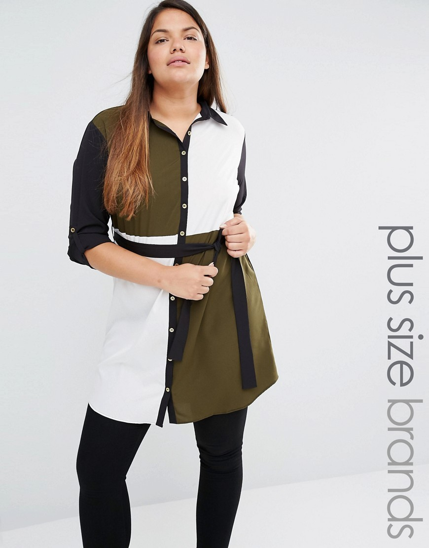 Plus Colourblock Shirt Dress Multi - style: shirt; length: mid thigh; neckline: shirt collar/peter pan/zip with opening; waist detail: belted waist/tie at waist/drawstring; secondary colour: white; predominant colour: khaki; occasions: casual; fit: body skimming; fibres: polyester/polyamide - 100%; sleeve length: 3/4 length; sleeve style: standard; pattern type: fabric; pattern: colourblock; texture group: other - light to midweight; multicoloured: multicoloured; season: s/s 2016
