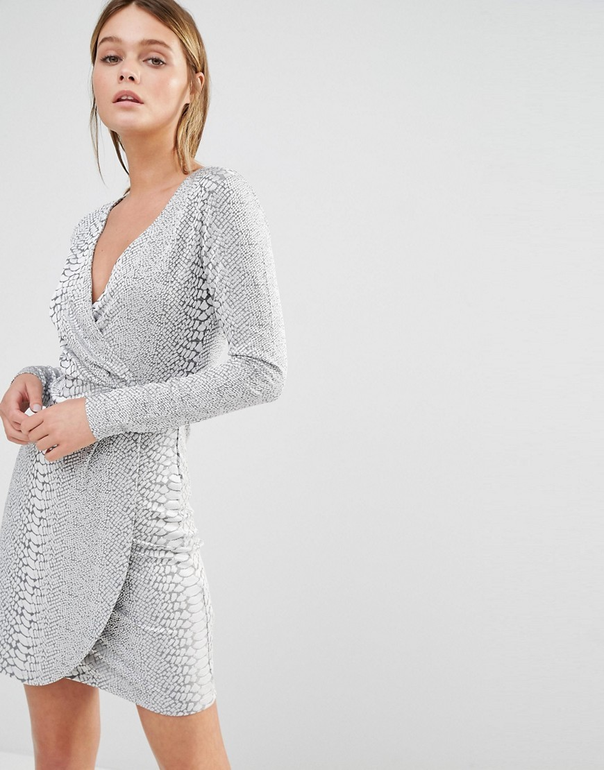 Snake Jacquard Dress Silver - style: faux wrap/wrap; length: mid thigh; neckline: low v-neck; pattern: plain; predominant colour: silver; occasions: evening; fit: body skimming; fibres: polyester/polyamide - stretch; sleeve length: long sleeve; sleeve style: standard; pattern type: fabric; texture group: brocade/jacquard; season: s/s 2016; wardrobe: event
