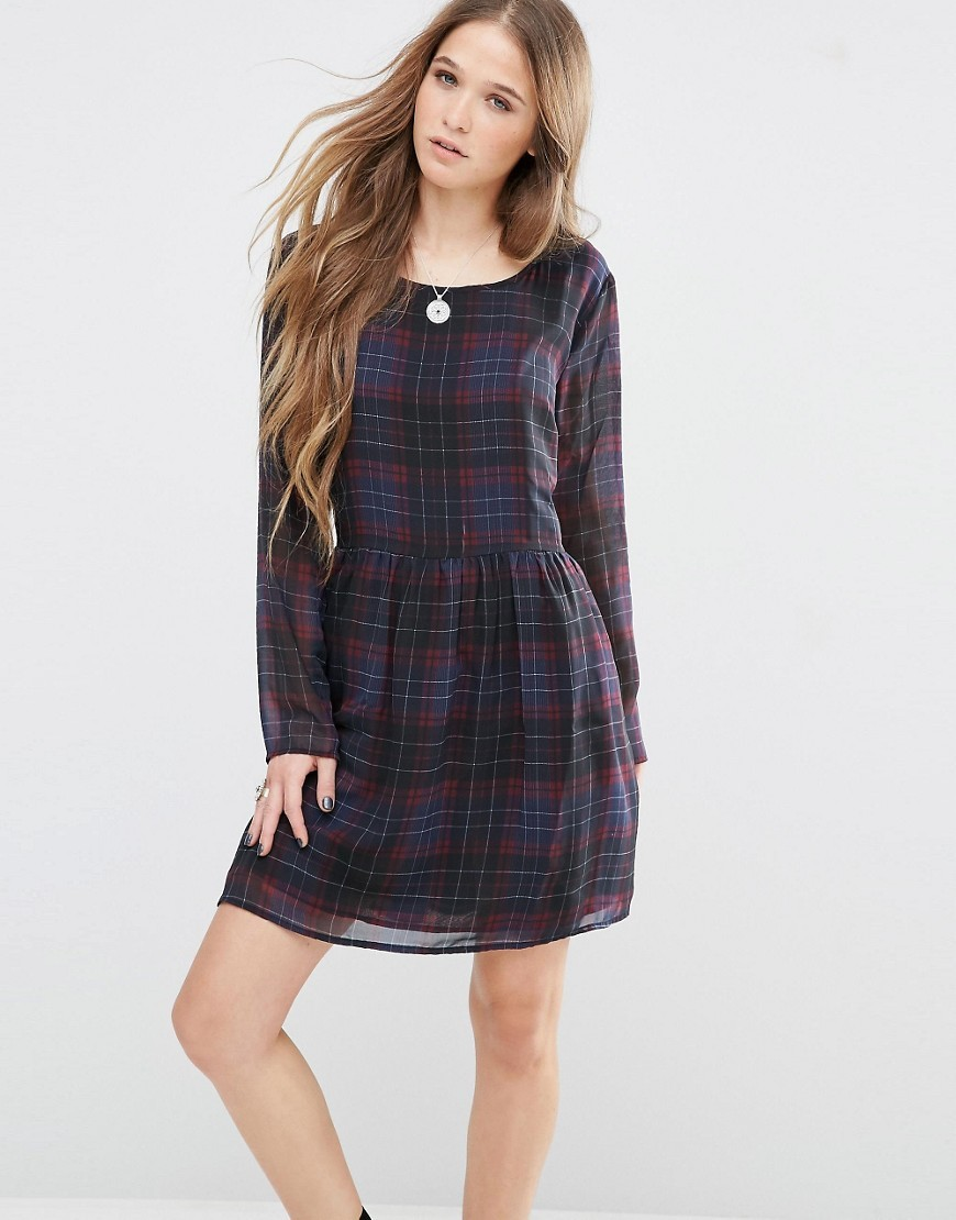 Bloom Check Dress Multi 0aa - pattern: checked/gingham; secondary colour: burgundy; predominant colour: navy; occasions: casual; length: just above the knee; fit: fitted at waist & bust; style: fit & flare; fibres: polyester/polyamide - 100%; neckline: crew; sleeve length: long sleeve; sleeve style: standard; texture group: sheer fabrics/chiffon/organza etc.; pattern type: fabric; multicoloured: multicoloured; season: s/s 2016; wardrobe: highlight
