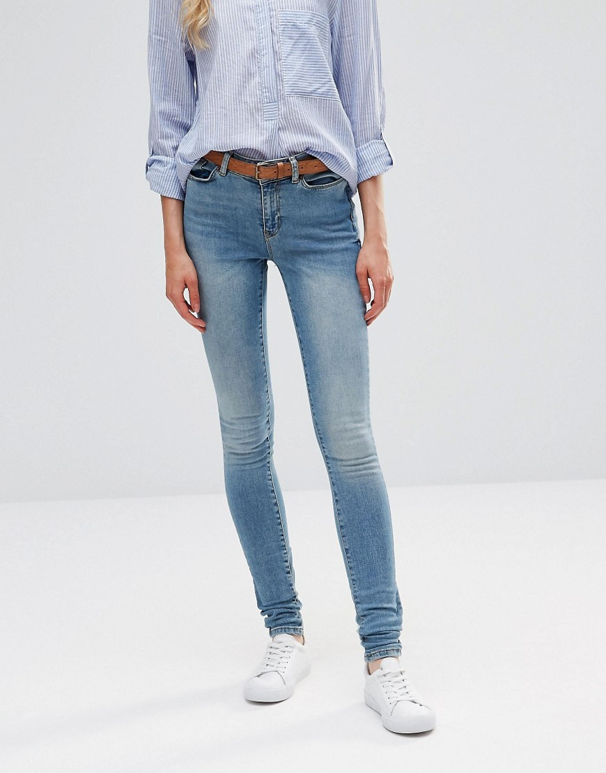Seven Super Slim Jeans Blue 34 Length - style: skinny leg; length: standard; pattern: plain; pocket detail: traditional 5 pocket; waist: mid/regular rise; predominant colour: denim; occasions: casual; fibres: cotton - stretch; texture group: denim; pattern type: fabric; season: s/s 2016; wardrobe: basic
