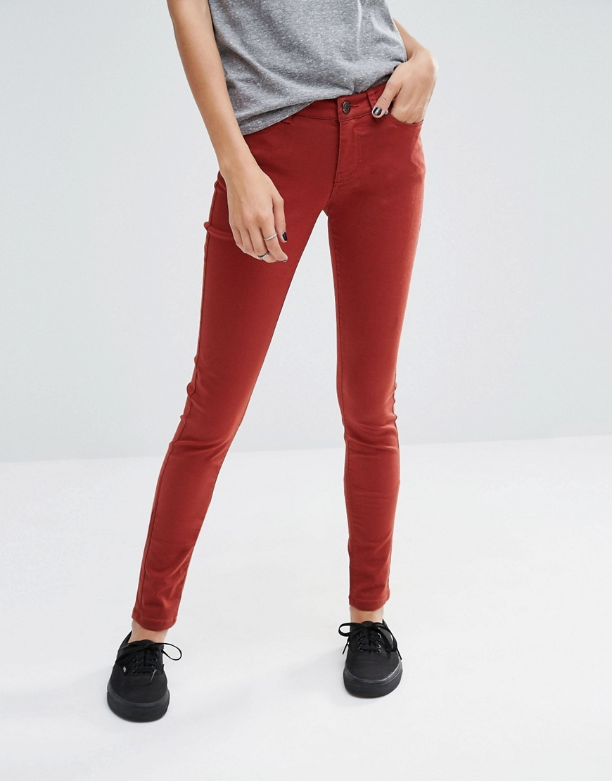 Eve Jeans 34 Henna - style: skinny leg; length: standard; pattern: plain; pocket detail: traditional 5 pocket; waist: mid/regular rise; predominant colour: true red; occasions: casual; fibres: cotton - stretch; texture group: denim; pattern type: fabric; season: s/s 2016
