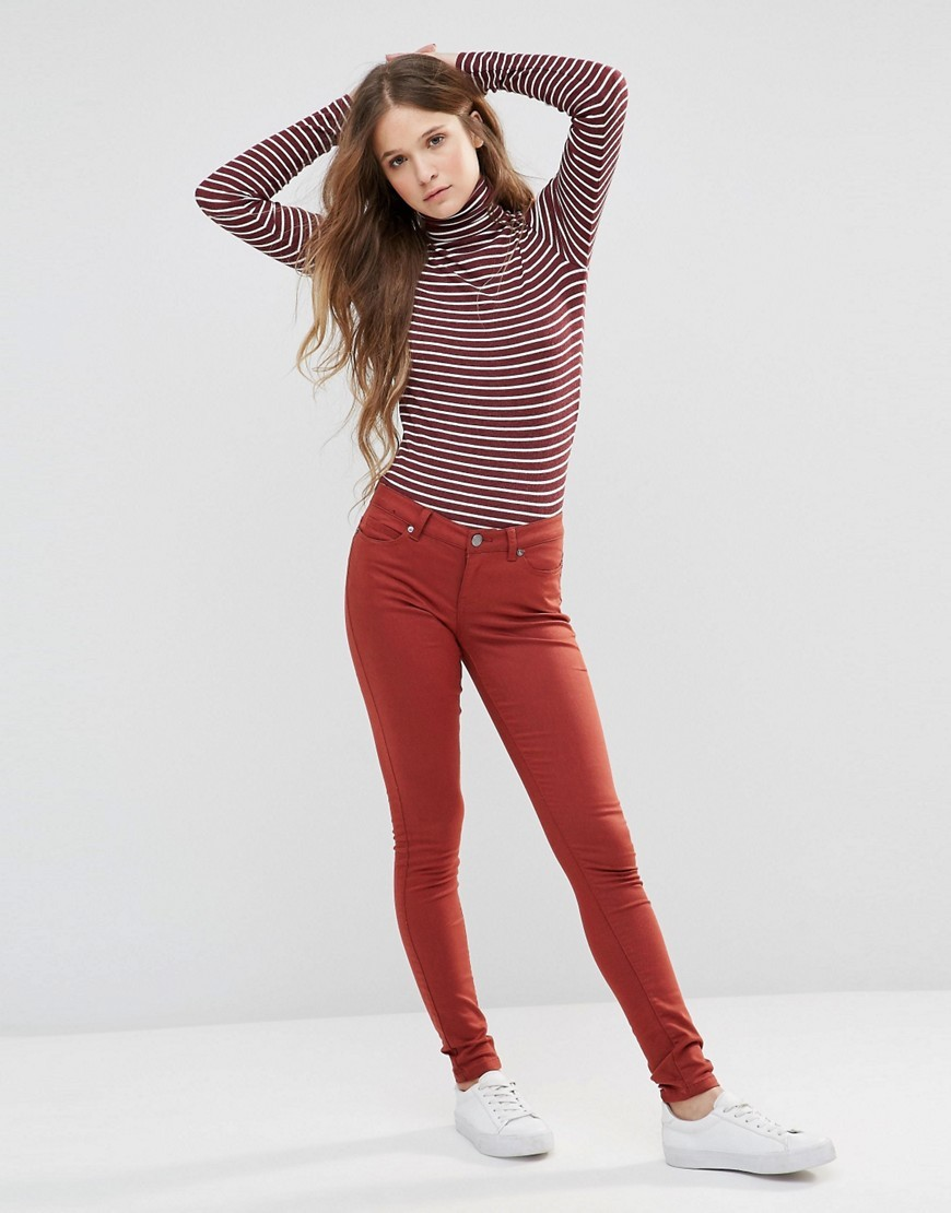 Eve Jeans 30 Henna - style: skinny leg; length: standard; pattern: plain; pocket detail: traditional 5 pocket; waist: mid/regular rise; predominant colour: true red; occasions: casual; fibres: cotton - stretch; texture group: denim; pattern type: fabric; season: s/s 2016; wardrobe: highlight
