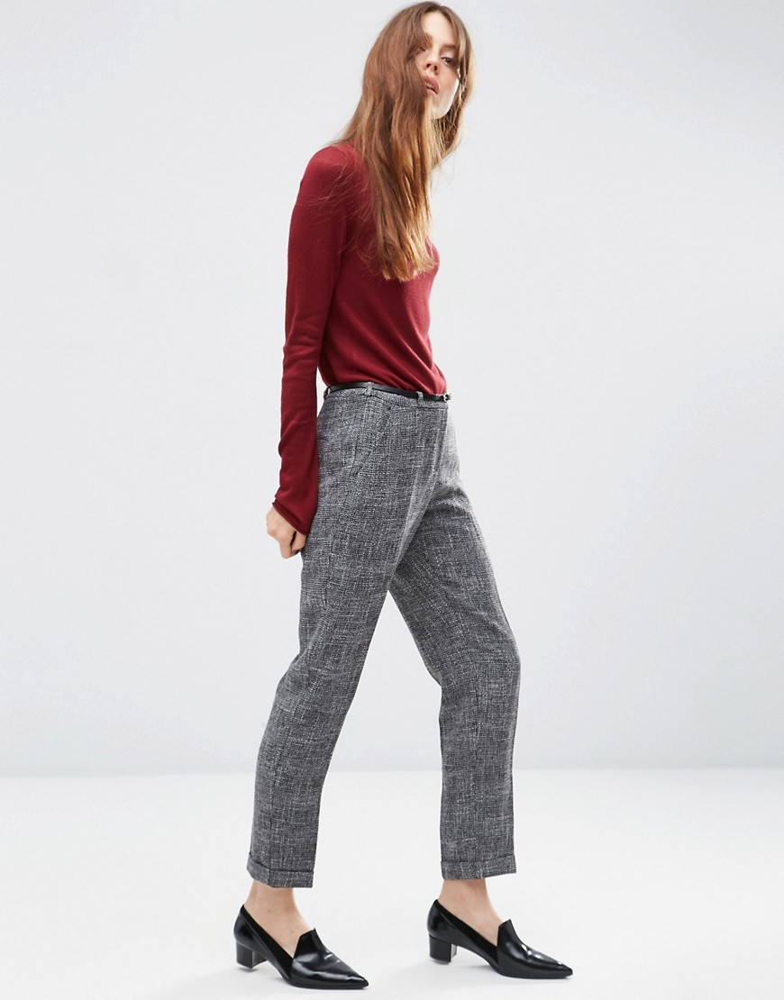 Cigarette Trouser In Texture With Belt Salt And Pepper - pattern: plain; waist: mid/regular rise; predominant colour: mid grey; occasions: work; length: ankle length; fibres: polyester/polyamide - mix; fit: slim leg; pattern type: fabric; texture group: woven light midweight; style: standard; season: s/s 2016; wardrobe: basic