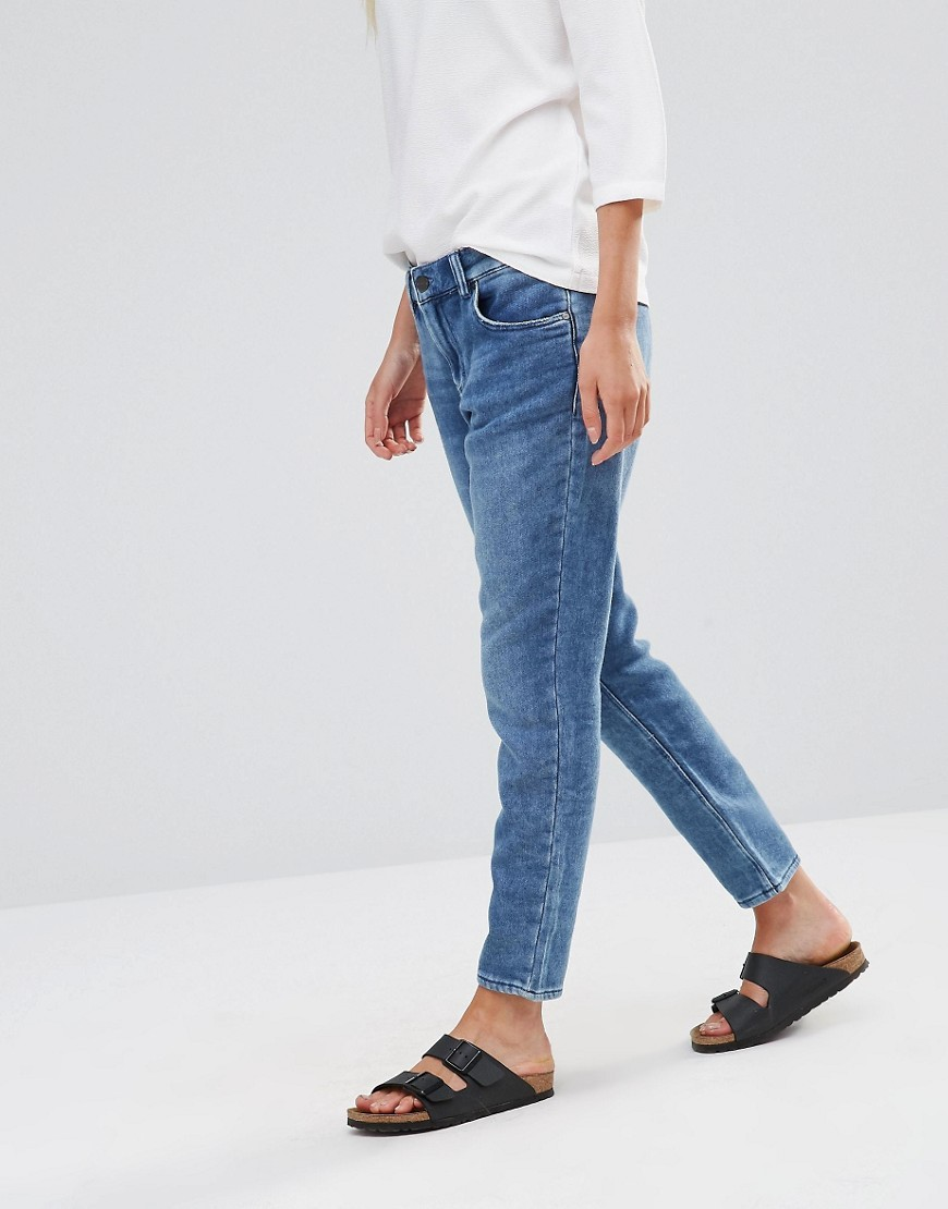 Tor Jersey Boyfriend Jean Thame Blue Towel - style: boyfriend; length: standard; pattern: plain; pocket detail: traditional 5 pocket; waist: mid/regular rise; predominant colour: denim; occasions: casual; fibres: cotton - stretch; texture group: denim; pattern type: fabric; season: s/s 2016; wardrobe: basic