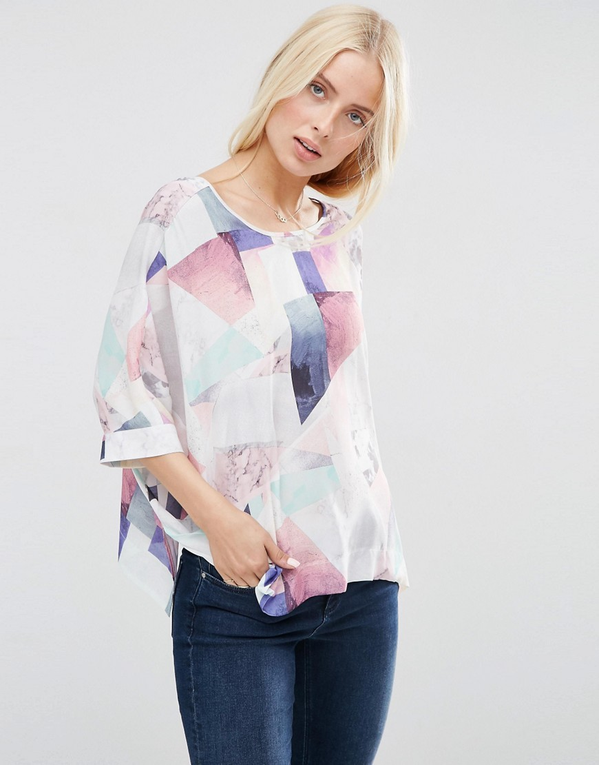 Abstract Print Oversized Kimono Tee Multi - neckline: round neck; sleeve style: dolman/batwing; style: t-shirt; predominant colour: blush; secondary colour: purple; occasions: casual, creative work; length: standard; fibres: polyester/polyamide - 100%; fit: loose; sleeve length: half sleeve; pattern type: fabric; pattern: patterned/print; texture group: woven light midweight; pattern size: big & busy (top); multicoloured: multicoloured; season: s/s 2016; wardrobe: highlight