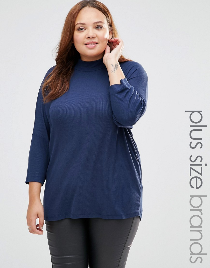 Ikka Top With High Neck Black Iris - pattern: plain; neckline: high neck; predominant colour: navy; occasions: casual; length: standard; style: top; fibres: viscose/rayon - stretch; fit: body skimming; sleeve length: 3/4 length; sleeve style: standard; pattern type: fabric; texture group: jersey - stretchy/drapey; season: s/s 2016; wardrobe: basic