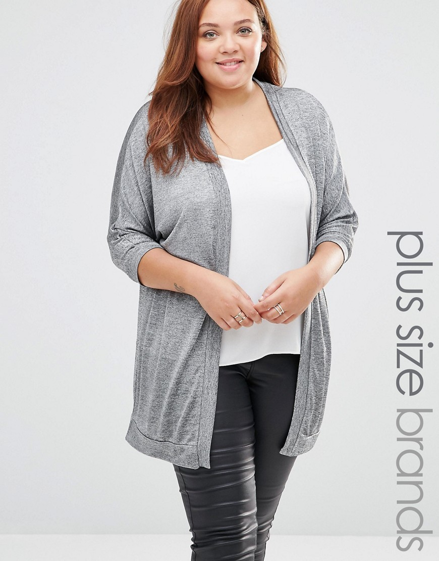 Jilian Cardigan Grey - pattern: plain; length: below the bottom; neckline: collarless open; style: open front; predominant colour: mid grey; occasions: casual, creative work; fibres: polyester/polyamide - stretch; fit: standard fit; sleeve length: 3/4 length; sleeve style: standard; texture group: knits/crochet; pattern type: knitted - fine stitch; season: s/s 2016
