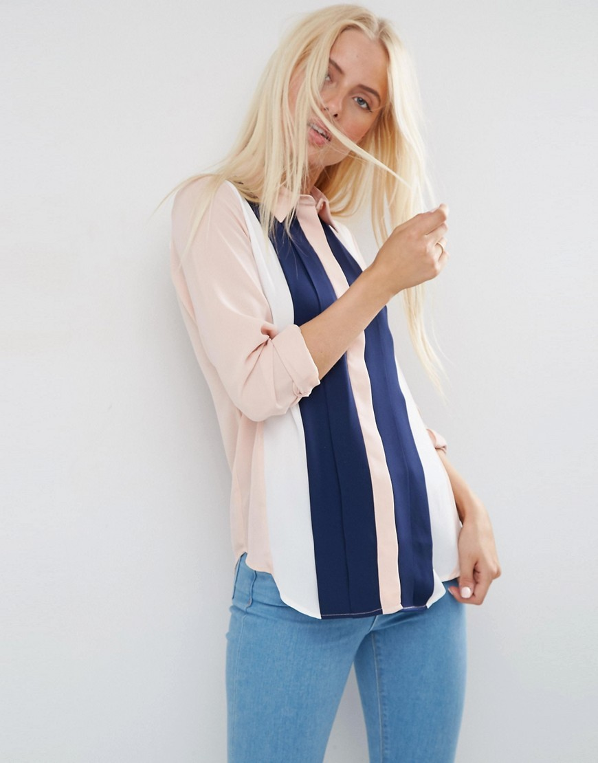 Pintuck Colour Block Blouse Multi - neckline: shirt collar/peter pan/zip with opening; pattern: vertical stripes; style: shirt; predominant colour: blush; secondary colour: navy; occasions: casual; length: standard; fibres: polyester/polyamide - 100%; fit: body skimming; sleeve length: long sleeve; sleeve style: standard; texture group: crepes; pattern type: fabric; pattern size: standard; multicoloured: multicoloured; season: s/s 2016