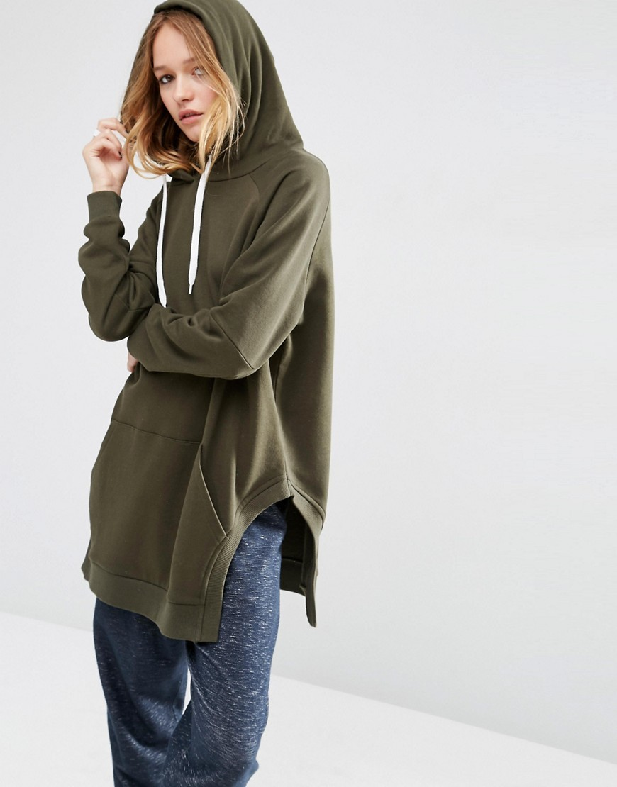 Hoodie In Longline Oversized Fit With Side Splits Khaki - pattern: plain; neckline: high neck; length: below the bottom; predominant colour: khaki; occasions: casual; fibres: cotton - 100%; fit: loose; sleeve length: long sleeve; sleeve style: standard; pattern type: fabric; texture group: jersey - stretchy/drapey; season: s/s 2016; style: hoody; wardrobe: highlight