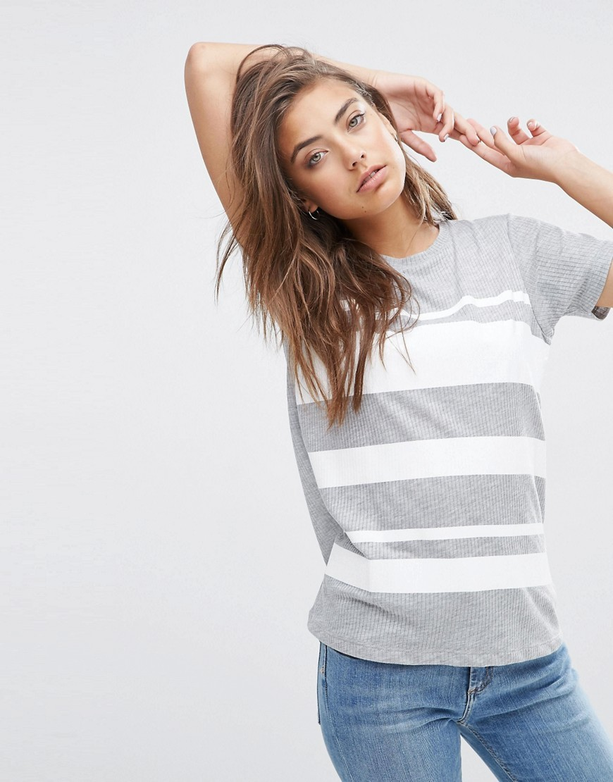 T Shirt In Block Print Stripe Multi - pattern: horizontal stripes; style: t-shirt; secondary colour: white; predominant colour: light grey; occasions: casual; length: standard; fibres: polyester/polyamide - mix; fit: body skimming; neckline: crew; sleeve length: short sleeve; sleeve style: standard; pattern type: fabric; texture group: jersey - stretchy/drapey; multicoloured: multicoloured; season: s/s 2016