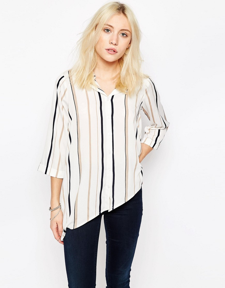 Stripe Shirt White Stripe - neckline: v-neck; pattern: vertical stripes; style: shirt; predominant colour: white; secondary colour: black; occasions: casual; length: standard; fibres: polyester/polyamide - 100%; fit: body skimming; sleeve length: 3/4 length; sleeve style: standard; pattern type: fabric; texture group: other - light to midweight; multicoloured: multicoloured; season: s/s 2016; wardrobe: highlight