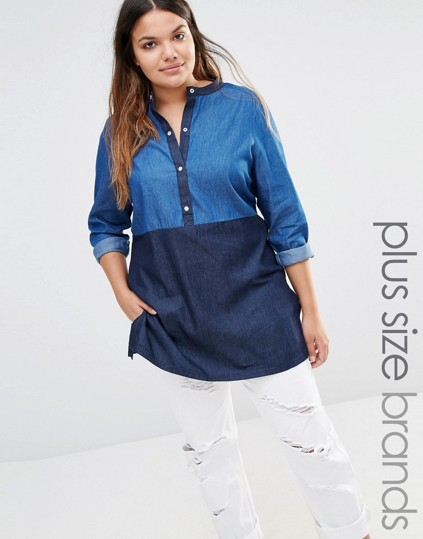 Chambray Colour Blocked Shirt Blue - length: below the bottom; style: shirt; secondary colour: navy; predominant colour: denim; occasions: casual; neckline: collarstand & mandarin with v-neck; fibres: cotton - 100%; fit: body skimming; sleeve length: long sleeve; sleeve style: standard; texture group: denim; pattern type: fabric; pattern: colourblock; multicoloured: multicoloured; season: s/s 2016; wardrobe: highlight
