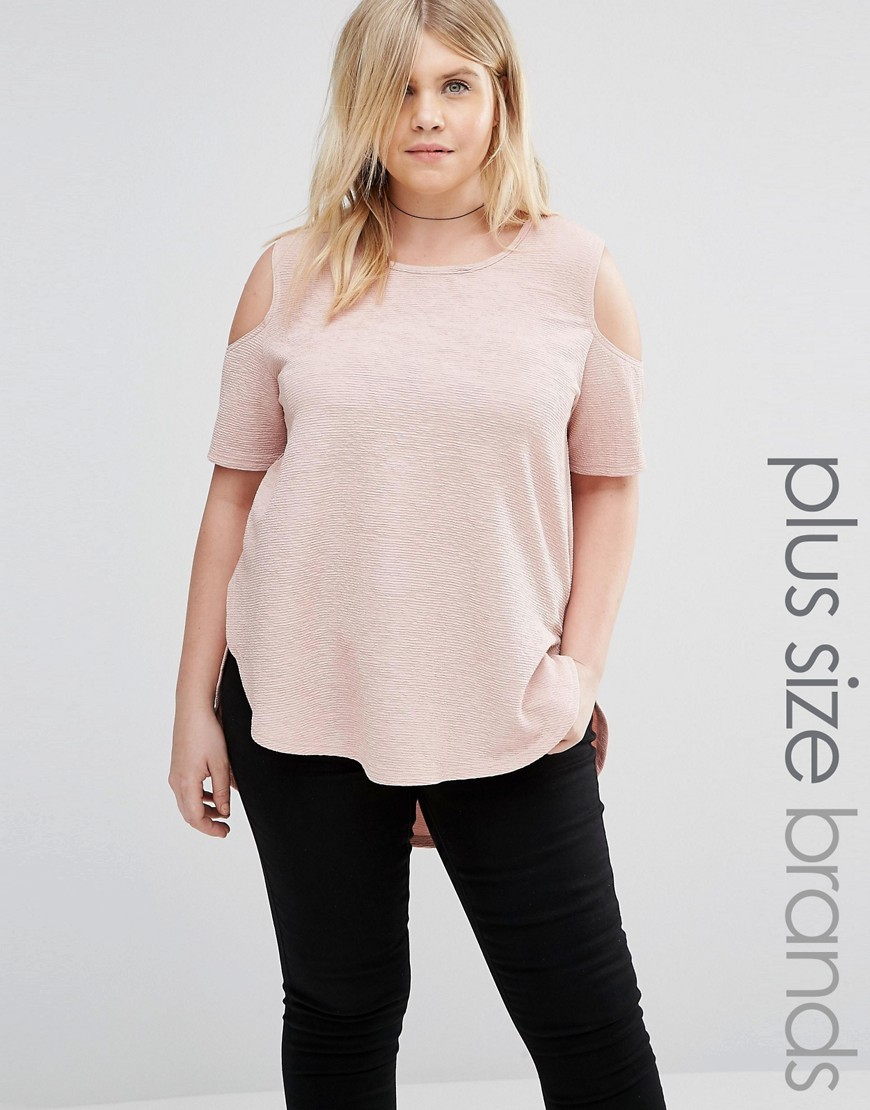 Plus Top With Cold Shoulder Blush - pattern: plain; length: below the bottom; predominant colour: blush; occasions: casual; style: top; fibres: polyester/polyamide - stretch; fit: body skimming; neckline: crew; shoulder detail: cut out shoulder; back detail: longer hem at back than at front; sleeve length: short sleeve; sleeve style: standard; pattern type: fabric; texture group: jersey - stretchy/drapey; season: s/s 2016; wardrobe: highlight