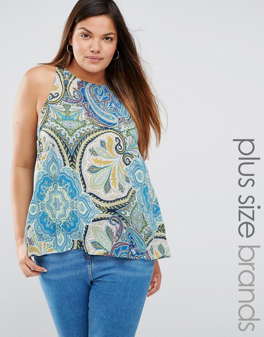 Plus Swing Top In Scarf Print Blue Multi - sleeve style: sleeveless; style: vest top; predominant colour: pale blue; secondary colour: light grey; occasions: casual; length: standard; fibres: polyester/polyamide - 100%; fit: body skimming; neckline: crew; sleeve length: sleeveless; pattern type: fabric; pattern: florals; texture group: woven light midweight; pattern size: big & busy (top); multicoloured: multicoloured; season: s/s 2016; wardrobe: highlight