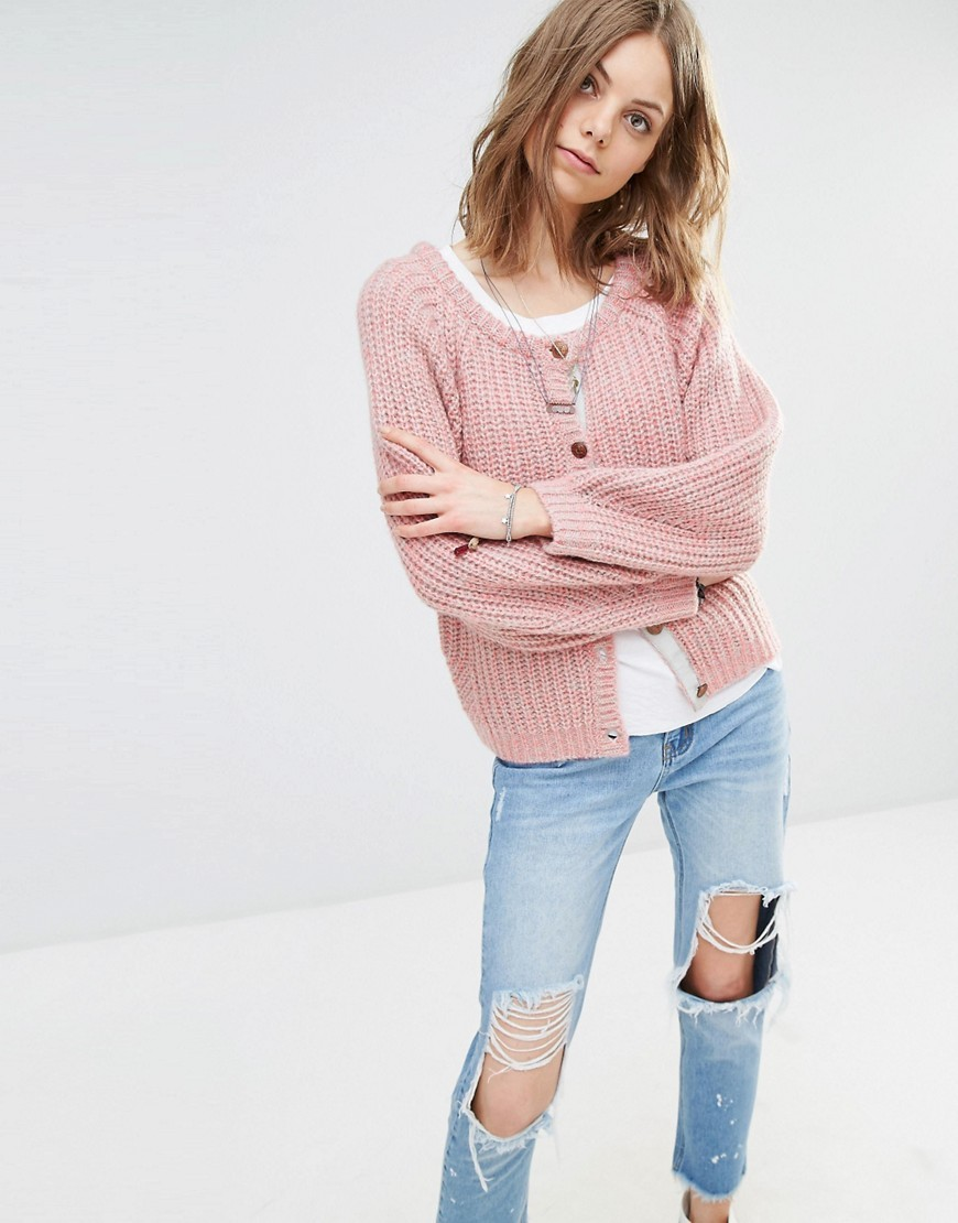 Chunky Knit Cardigan 3g Pink - pattern: plain; neckline: collarless open; style: open front; predominant colour: blush; occasions: casual; length: standard; fibres: acrylic - mix; fit: loose; sleeve length: long sleeve; sleeve style: standard; texture group: knits/crochet; pattern type: knitted - fine stitch; season: s/s 2016; wardrobe: basic