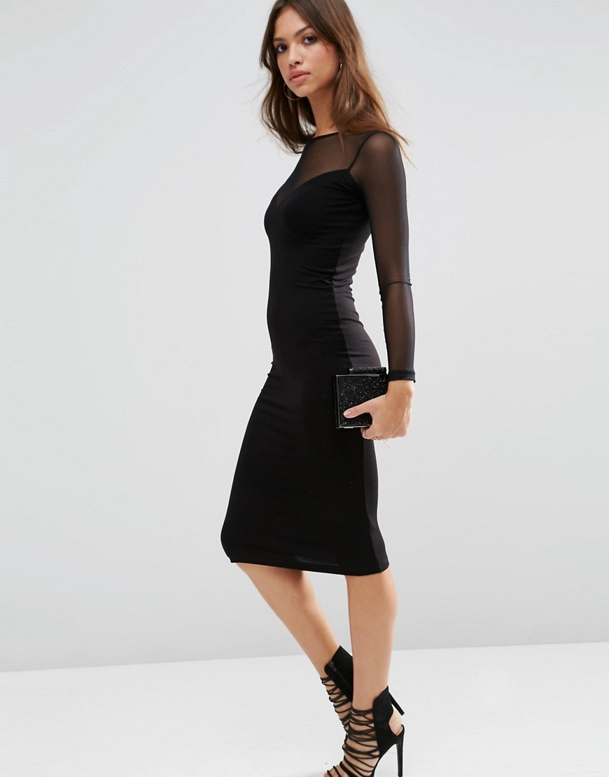 Plunge Bodycon Midi Dress With Contrast Mesh Black - length: below the knee; fit: tight; pattern: plain; style: bodycon; bust detail: sheer at bust; predominant colour: black; occasions: evening; fibres: viscose/rayon - stretch; neckline: crew; sleeve length: long sleeve; sleeve style: standard; texture group: jersey - clingy; pattern type: fabric; season: s/s 2016; wardrobe: event