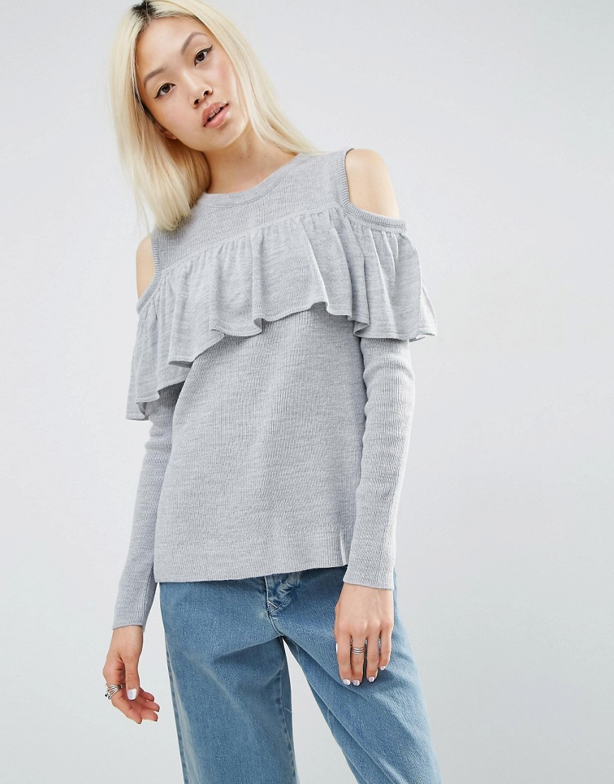 Fine Jumper With Ruffle Cold Shoulder Pale Grey Marl - pattern: plain; style: standard; predominant colour: light grey; occasions: casual; length: standard; fibres: acrylic - 100%; fit: slim fit; neckline: crew; shoulder detail: cut out shoulder; sleeve length: long sleeve; sleeve style: standard; texture group: knits/crochet; bust detail: tiers/frills/bulky drapes/pleats; pattern type: knitted - fine stitch; season: s/s 2016