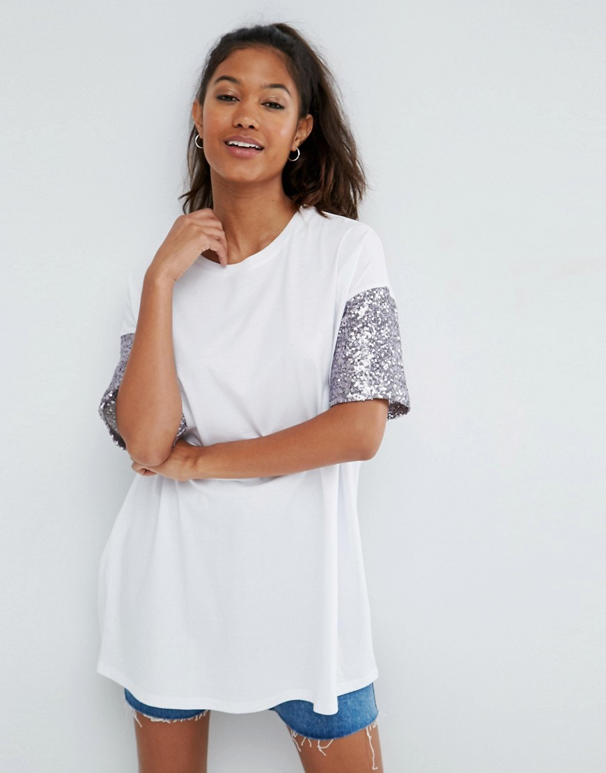 T Shirt With Sequin Sleeve White/Mink - neckline: round neck; length: below the bottom; style: t-shirt; predominant colour: white; secondary colour: silver; occasions: casual, creative work; fibres: cotton - 100%; fit: loose; sleeve length: short sleeve; sleeve style: standard; pattern type: fabric; pattern size: standard; pattern: colourblock; texture group: jersey - stretchy/drapey; embellishment: sequins; season: s/s 2016