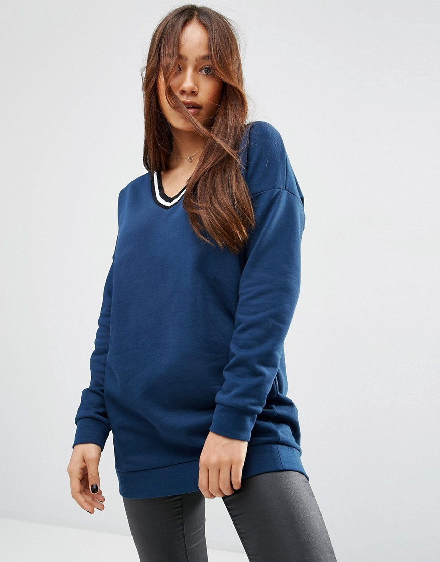 Sweatshirt With Stripe Tipping In Longline Dark Blue - neckline: round neck; pattern: plain; length: below the bottom; style: standard; predominant colour: royal blue; occasions: casual, creative work; fibres: cotton - 100%; fit: standard fit; sleeve length: long sleeve; sleeve style: standard; pattern type: knitted - other; texture group: jersey - stretchy/drapey; season: s/s 2016