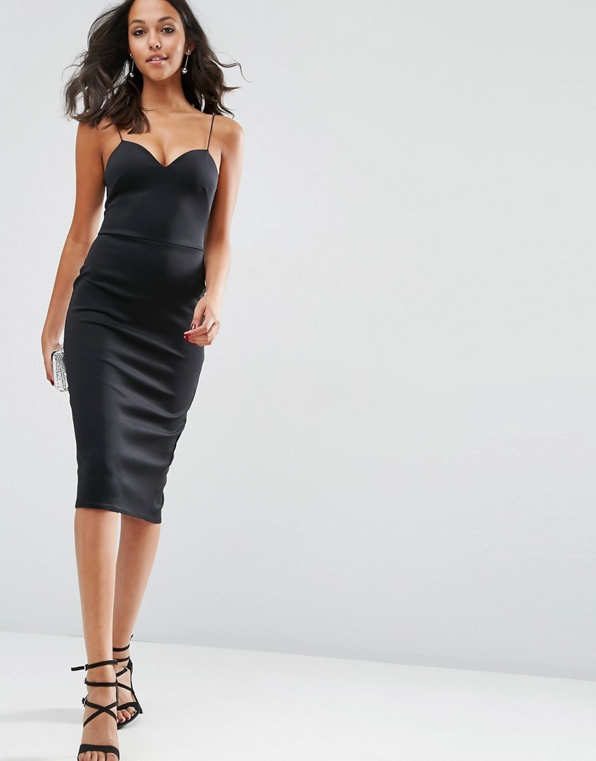 Scuba Deep Plunge Midi Bodycon Dress Black - length: below the knee; sleeve style: spaghetti straps; fit: tight; pattern: plain; style: bodycon; neckline: sweetheart; predominant colour: black; occasions: evening; fibres: polyester/polyamide - stretch; sleeve length: sleeveless; texture group: jersey - clingy; pattern type: fabric; season: s/s 2016