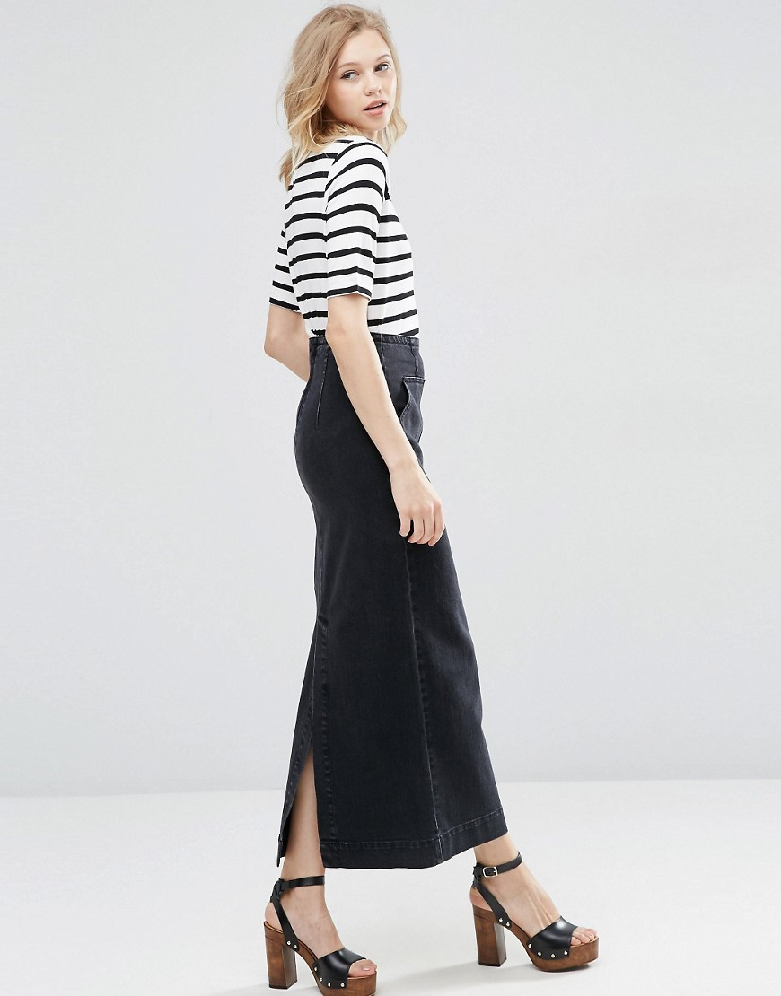 Denim Column Midi Skirt In Washed Black Black - pattern: plain; length: ankle length; fit: body skimming; waist: mid/regular rise; predominant colour: black; occasions: casual; style: maxi skirt; fibres: cotton - 100%; hip detail: slits at hip; pattern type: fabric; texture group: other - light to midweight; season: s/s 2016; wardrobe: basic