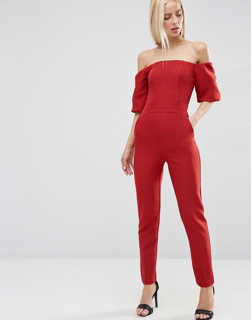 Jumpsuit With Bardot Off Shoulder Brick - neckline: off the shoulder; fit: tailored/fitted; pattern: plain; predominant colour: true red; length: ankle length; fibres: polyester/polyamide - stretch; occasions: occasion; sleeve length: half sleeve; sleeve style: standard; style: jumpsuit; pattern type: fabric; texture group: woven light midweight; season: s/s 2016; wardrobe: event