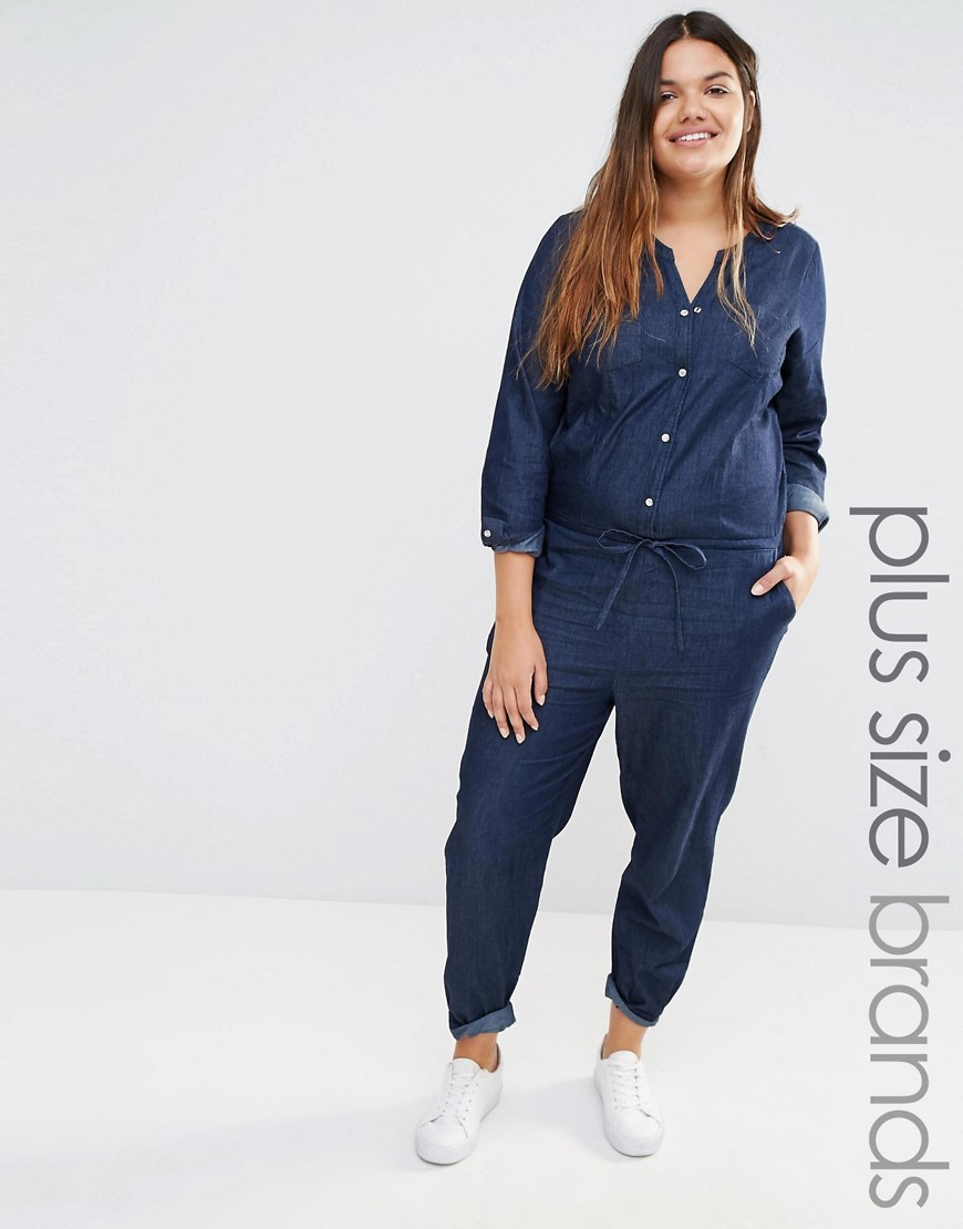 Chambray Jumpsuit Blue - length: standard; neckline: v-neck; pattern: plain; waist detail: belted waist/tie at waist/drawstring; predominant colour: navy; occasions: casual; fit: body skimming; fibres: cotton - 100%; sleeve length: 3/4 length; sleeve style: standard; texture group: denim; style: jumpsuit; pattern type: fabric; season: s/s 2016; wardrobe: highlight