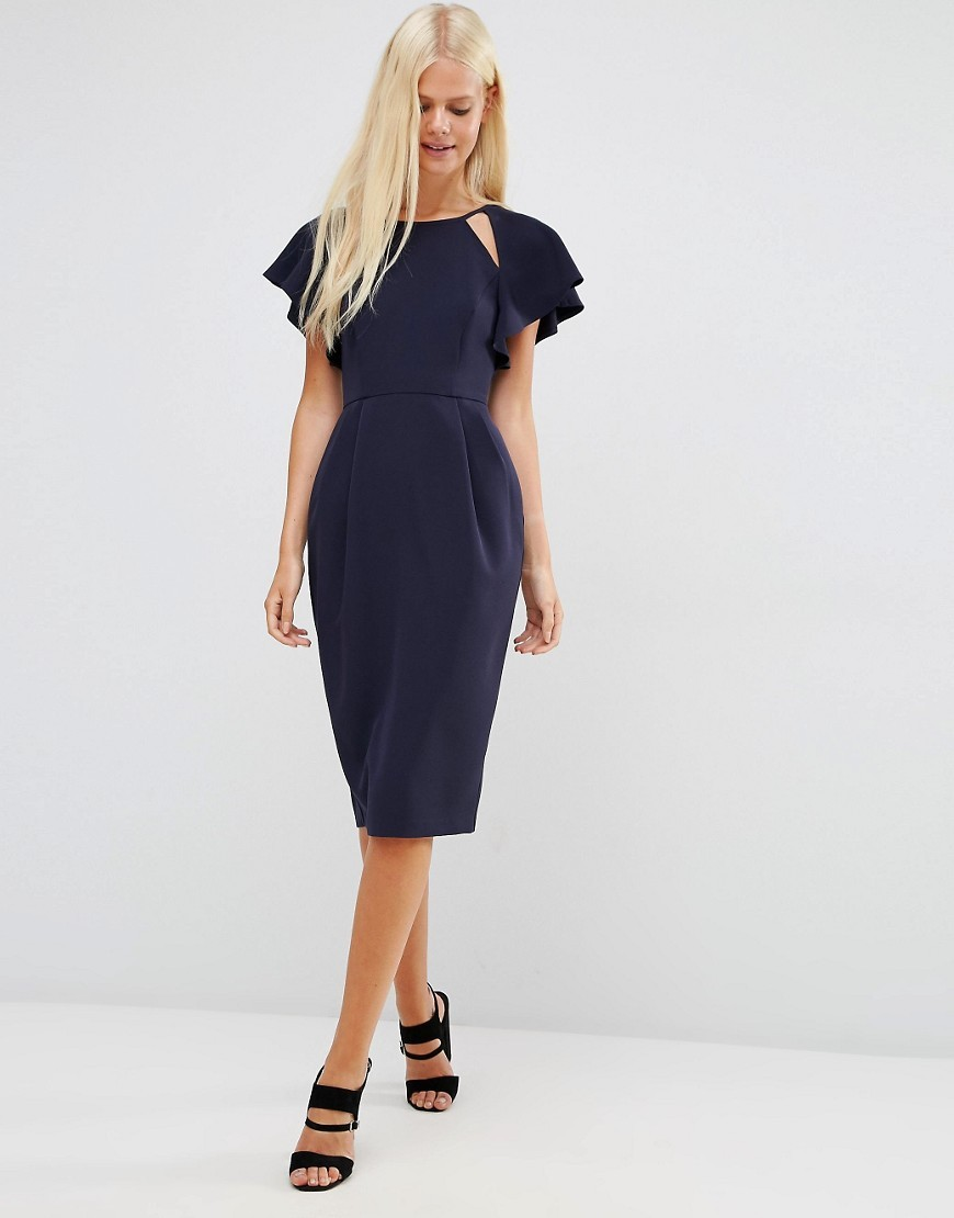 Wiggle Dress With Frill Sleeve And Cut Out Detail Navy - style: shift; fit: tailored/fitted; pattern: plain; predominant colour: navy; occasions: evening; length: on the knee; fibres: polyester/polyamide - stretch; neckline: crew; sleeve length: short sleeve; sleeve style: standard; texture group: crepes; pattern type: fabric; season: s/s 2016; wardrobe: event