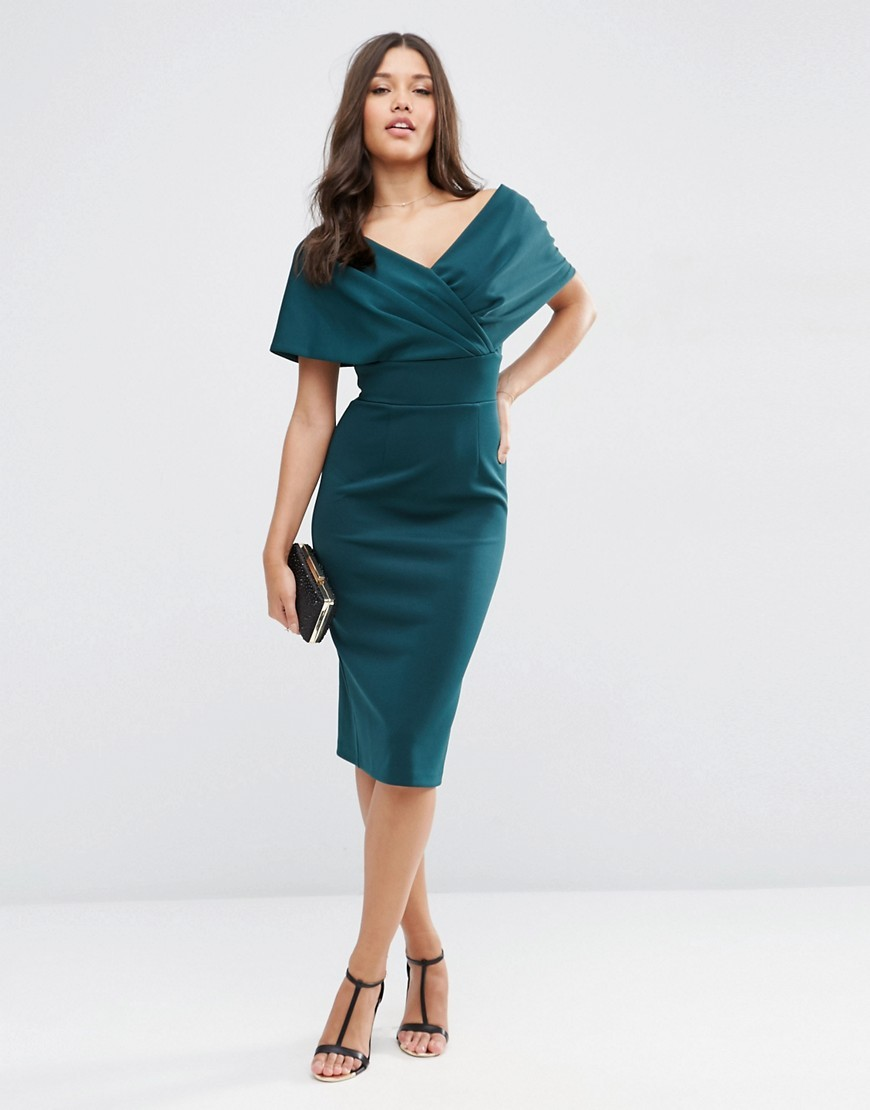 Premium Fold Scuba Cape Midi Bodycon Dress Forest Green - style: faux wrap/wrap; neckline: low v-neck; sleeve style: capped; fit: tailored/fitted; pattern: plain; predominant colour: teal; occasions: evening, occasion; length: on the knee; fibres: polyester/polyamide - 100%; sleeve length: short sleeve; texture group: crepes; pattern type: fabric; season: s/s 2016; wardrobe: event