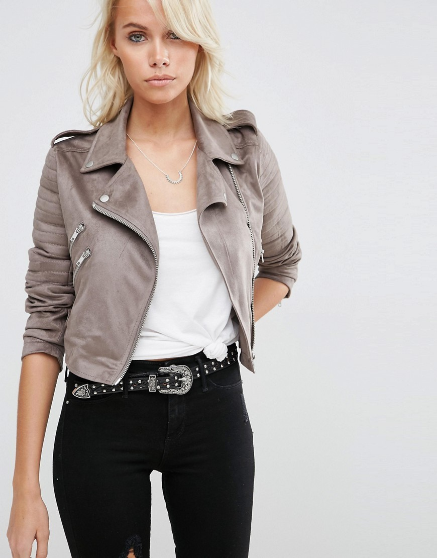 Faux Suede Biker Jacket Grey - pattern: plain; style: biker; collar: asymmetric biker; predominant colour: stone; occasions: casual, creative work; fit: tailored/fitted; fibres: polyester/polyamide - 100%; sleeve length: long sleeve; sleeve style: standard; collar break: high/illusion of break when open; pattern type: fabric; texture group: suede; length: cropped; season: s/s 2016; wardrobe: basic