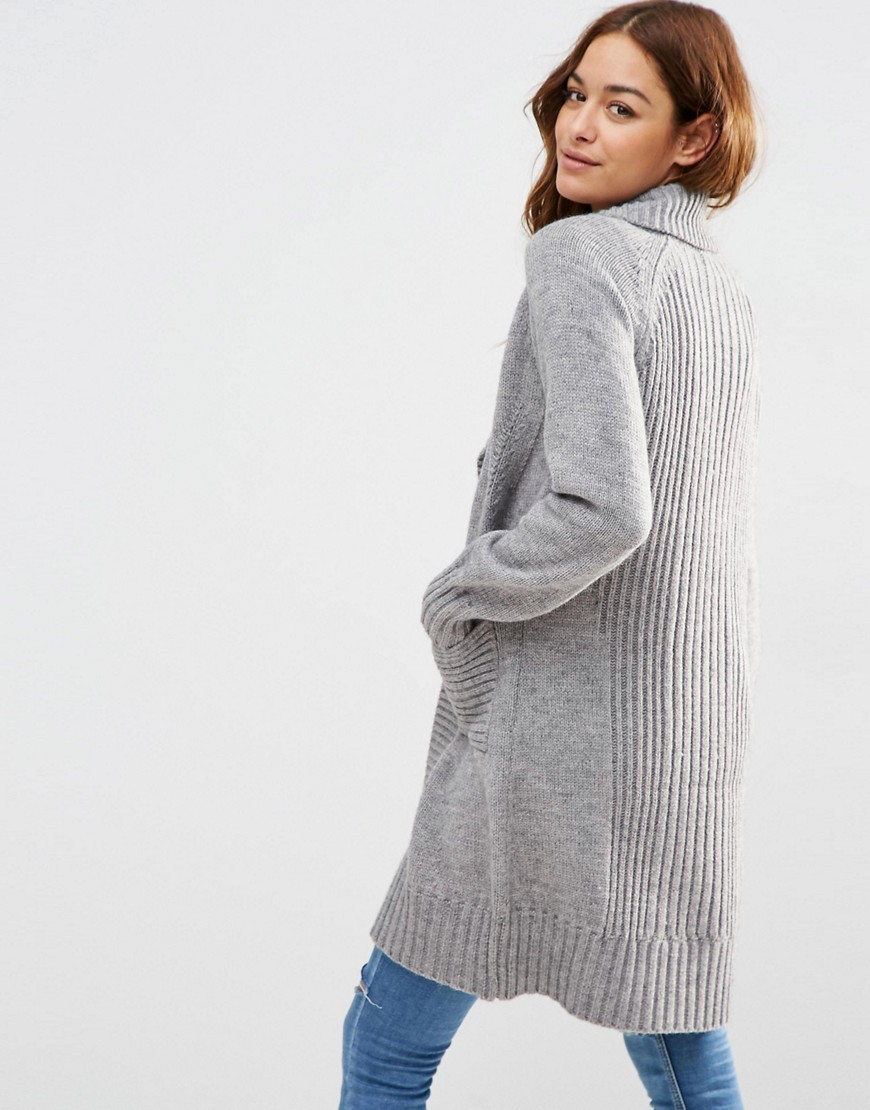 Coatigan With Ribbed Back Mid Grey - pattern: plain; neckline: shawl; style: open front; predominant colour: light grey; occasions: casual; fibres: acrylic - mix; fit: loose; length: mid thigh; sleeve length: long sleeve; sleeve style: standard; texture group: knits/crochet; pattern type: knitted - fine stitch; season: s/s 2016