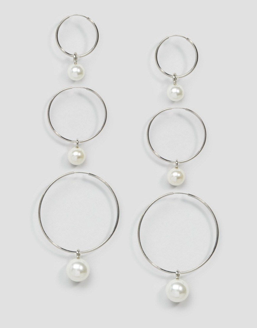 Pack Of 3 Faux Pearl Hoop Earrings Rhodium - predominant colour: silver; occasions: evening, occasion; style: hoop; length: mid; size: standard; material: chain/metal; fastening: pierced; finish: metallic; embellishment: pearls; season: s/s 2016