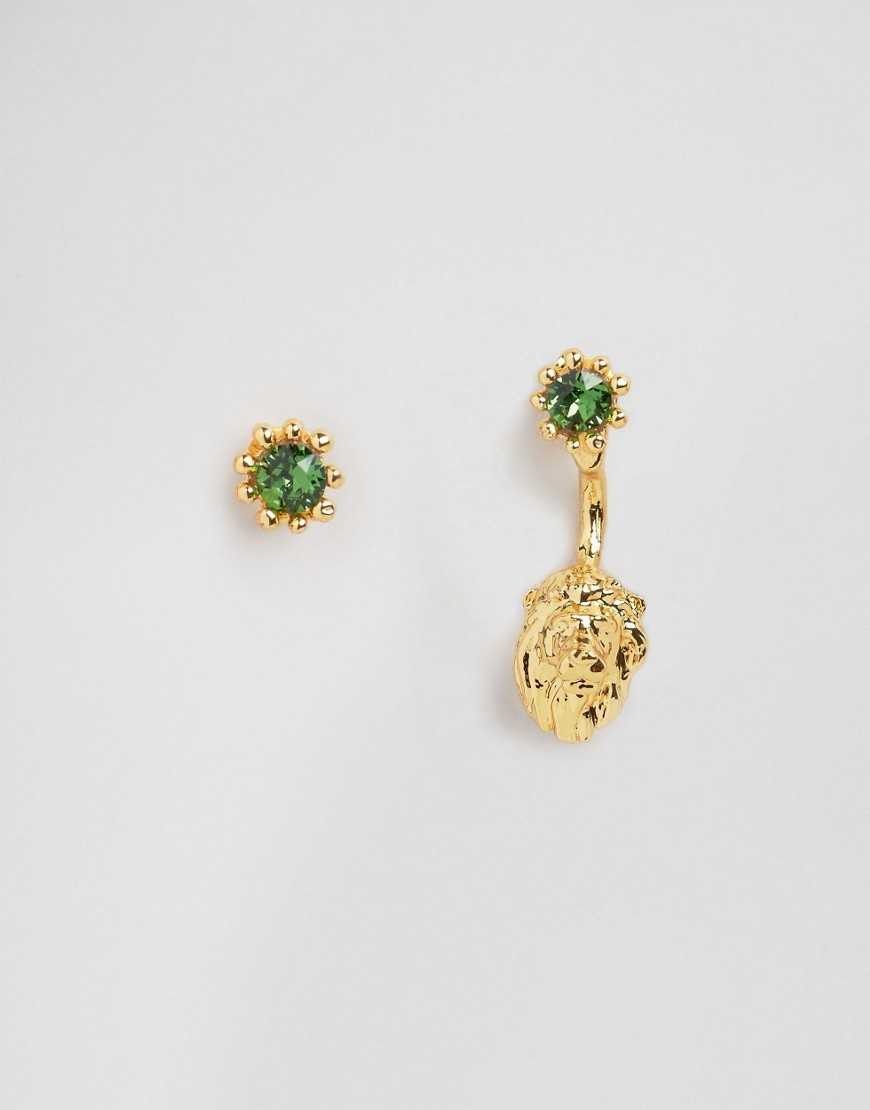 Lion Through & Through Earrings Gold - secondary colour: emerald green; predominant colour: gold; style: drop; length: mid; size: small/fine; material: chain/metal; fastening: pierced; finish: metallic; embellishment: jewels/stone; occasions: creative work; season: s/s 2016; wardrobe: highlight