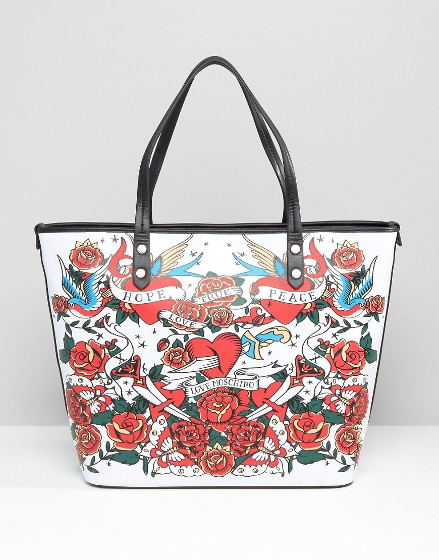 Rose Print Shopper Bag Bianco - secondary colour: white; predominant colour: true red; occasions: casual, creative work; type of pattern: heavy; style: tote; length: shoulder (tucks under arm); size: standard; material: faux leather; finish: plain; pattern: patterned/print; multicoloured: multicoloured; season: s/s 2016; wardrobe: highlight