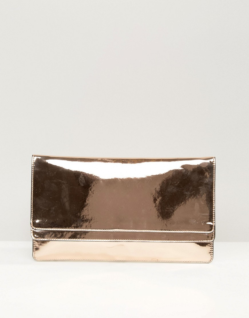 Double Flap Slim Metallic Clutch Bag Rose Gold - predominant colour: bronze; occasions: evening, occasion; type of pattern: standard; style: clutch; length: hand carry; size: standard; material: faux leather; pattern: plain; finish: metallic; season: s/s 2016; wardrobe: event