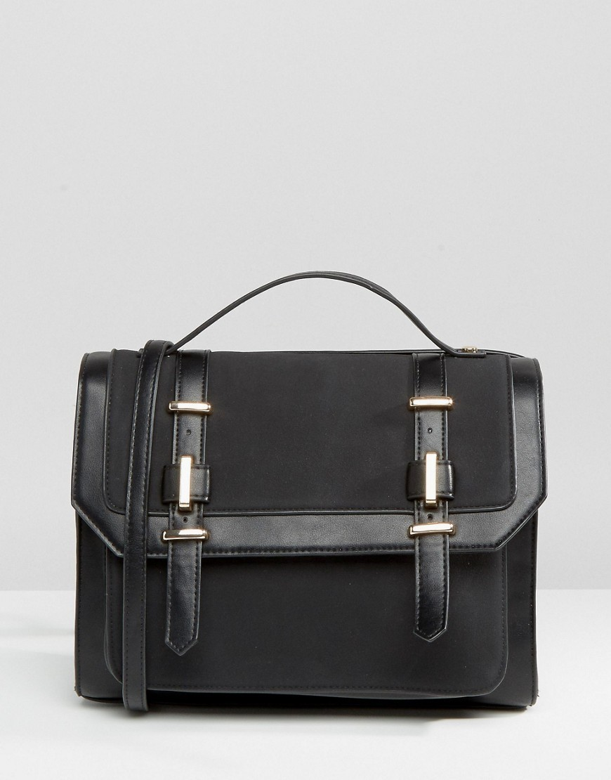 Metal Trim Satchel Bag Black - predominant colour: black; occasions: casual, creative work; type of pattern: standard; style: satchel; length: across body/long; size: standard; material: faux leather; pattern: plain; finish: plain; season: s/s 2016