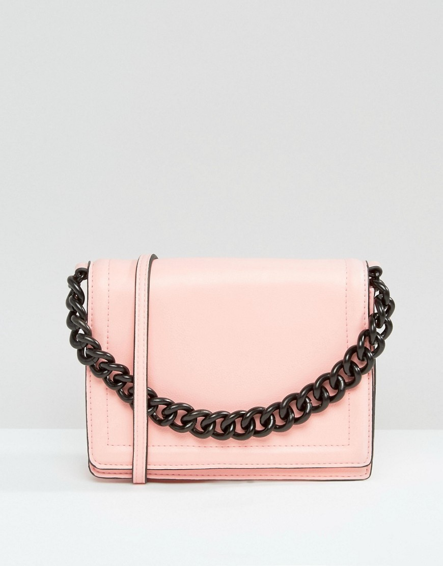 Cross Body Bag With Coated Chain Handle Pink - predominant colour: blush; secondary colour: charcoal; type of pattern: light; style: shoulder; length: across body/long; size: small; material: faux leather; pattern: plain; finish: plain; embellishment: chain/metal; occasions: creative work; season: s/s 2016; wardrobe: investment