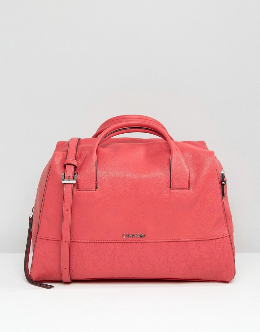 Ck Jeans Duffle Bag Red Stripe - predominant colour: coral; occasions: casual, creative work; type of pattern: standard; style: bowling; length: handle; size: standard; material: faux leather; pattern: plain; finish: plain; season: s/s 2016; wardrobe: highlight