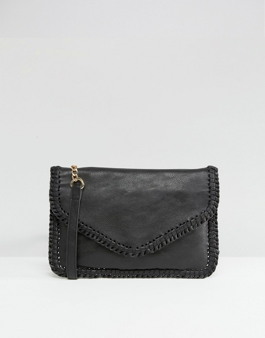 Whipstitch Clutch Black - predominant colour: black; occasions: evening, occasion; type of pattern: standard; style: clutch; length: hand carry; size: standard; material: faux leather; pattern: plain; finish: plain; season: s/s 2016