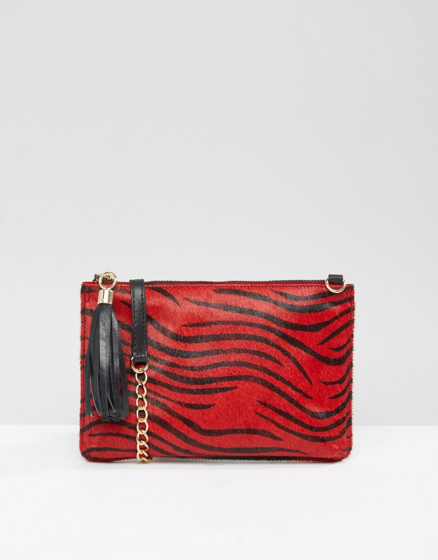 Leather Pony Detail Clutch Bag With Optional Shoulder Strap Re1 Red - predominant colour: true red; secondary colour: black; occasions: evening, occasion; type of pattern: standard; style: clutch; length: hand carry; size: standard; material: animal skin; embellishment: tassels; finish: plain; pattern: patterned/print; season: s/s 2016