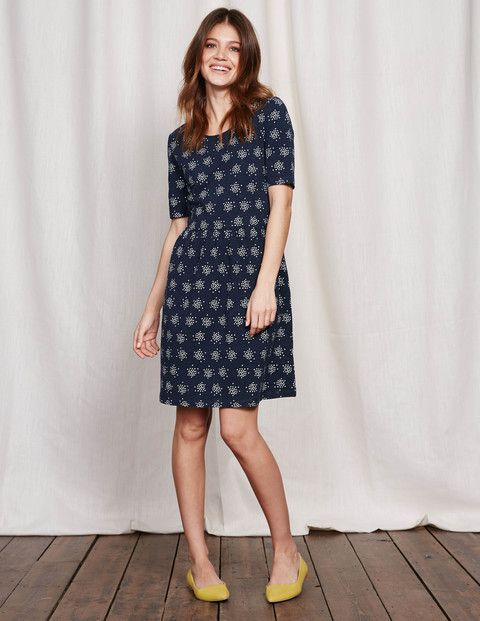 Miranda Dress Navy Confetti Spot Women, Navy Confetti Spot - predominant colour: navy; secondary colour: light grey; occasions: casual; length: just above the knee; fit: fitted at waist & bust; style: fit & flare; fibres: cotton - 100%; neckline: crew; sleeve length: short sleeve; sleeve style: standard; pattern type: fabric; pattern: patterned/print; texture group: woven light midweight; season: s/s 2016; wardrobe: highlight