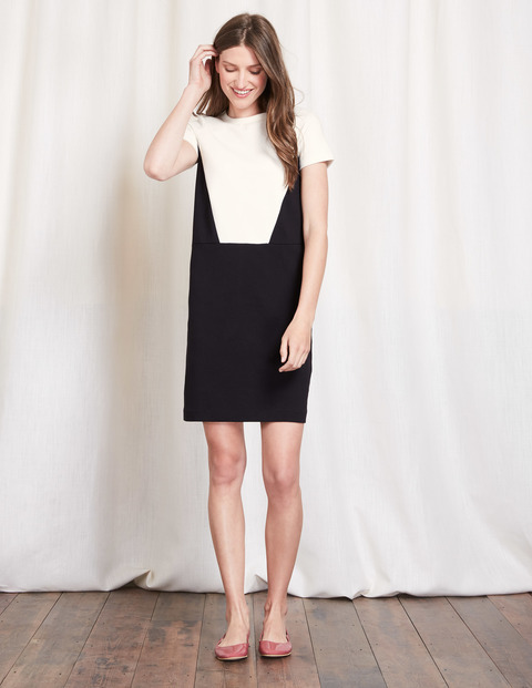 Colourblock Ponte Dress Black/Ivory Women, Black/Ivory - style: shift; fit: tailored/fitted; predominant colour: black; secondary colour: black; occasions: evening; length: just above the knee; fibres: cotton - stretch; neckline: crew; sleeve length: short sleeve; sleeve style: standard; pattern type: fabric; pattern: colourblock; texture group: other - light to midweight; season: s/s 2016; wardrobe: event