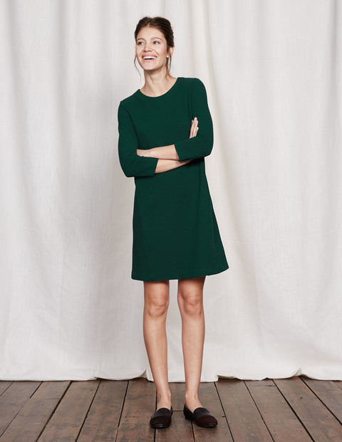 Ottoman A Line Dress Emerald Night Women, Emerald Night - style: shift; pattern: plain; predominant colour: dark green; occasions: casual; length: just above the knee; fit: soft a-line; fibres: cotton - stretch; neckline: crew; sleeve length: 3/4 length; sleeve style: standard; texture group: knits/crochet; pattern type: knitted - fine stitch; season: s/s 2016; wardrobe: highlight
