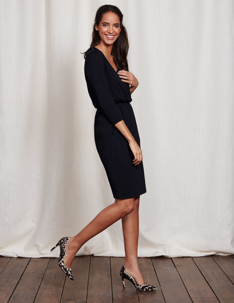 Cressida Dress Black Women, Black - style: faux wrap/wrap; neckline: v-neck; pattern: plain; predominant colour: black; occasions: evening; length: just above the knee; fit: body skimming; fibres: cotton - mix; sleeve length: 3/4 length; sleeve style: standard; pattern type: fabric; texture group: jersey - stretchy/drapey; season: s/s 2016; wardrobe: event