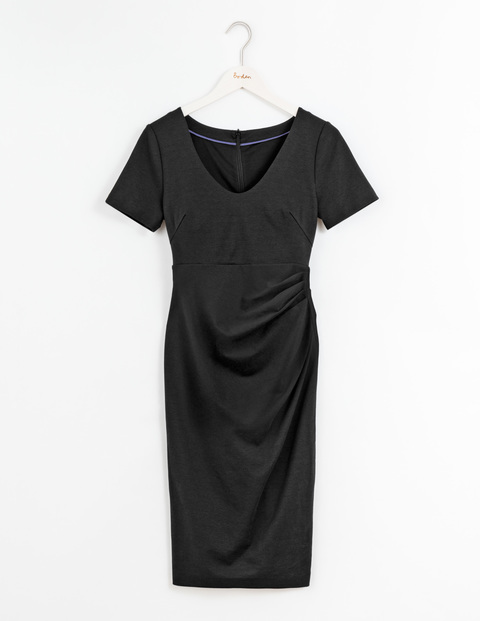 Honor Dress Black Women, Black - style: shift; length: below the knee; neckline: v-neck; pattern: plain; predominant colour: black; occasions: evening; fit: body skimming; fibres: cotton - stretch; sleeve length: short sleeve; sleeve style: standard; pattern type: fabric; texture group: jersey - stretchy/drapey; season: s/s 2016; wardrobe: event