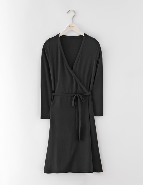 Wrap Dress Black Women, Black - style: faux wrap/wrap; length: mid thigh; neckline: v-neck; pattern: plain; waist detail: belted waist/tie at waist/drawstring; predominant colour: black; occasions: work; fit: body skimming; fibres: cotton - stretch; sleeve length: 3/4 length; sleeve style: standard; texture group: jersey - clingy; pattern type: fabric; season: s/s 2016; wardrobe: highlight