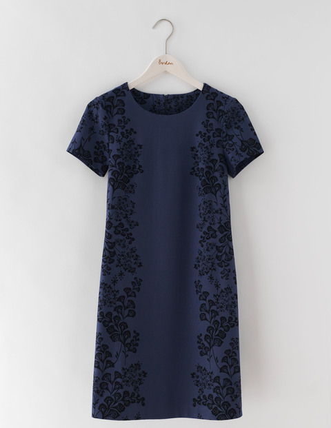 Floral Ponte Dress Blue Woodblock Floral Women, Blue Woodblock Floral - style: shift; fit: tailored/fitted; predominant colour: navy; occasions: evening; length: just above the knee; fibres: cotton - stretch; neckline: crew; sleeve length: short sleeve; sleeve style: standard; pattern type: fabric; pattern: florals; texture group: other - light to midweight; season: s/s 2016